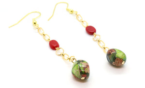 coral and mixed jasper beaded earrings for women