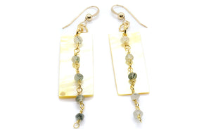 Green Rutile Shell Earrings