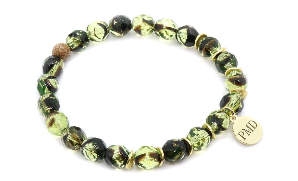 Green and natural jasper beaded bracelet for women