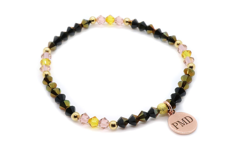 Sunflower yellow and jet astral pink fall bracelet for women with charm