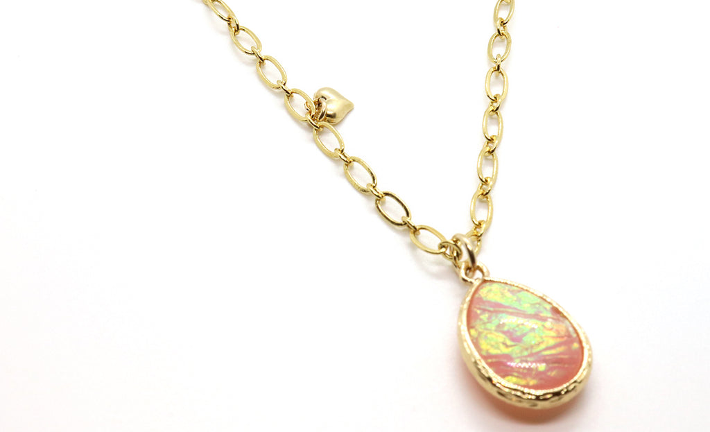 Light Pink Opal Glow Necklace handmade in Tampa, FL for mom