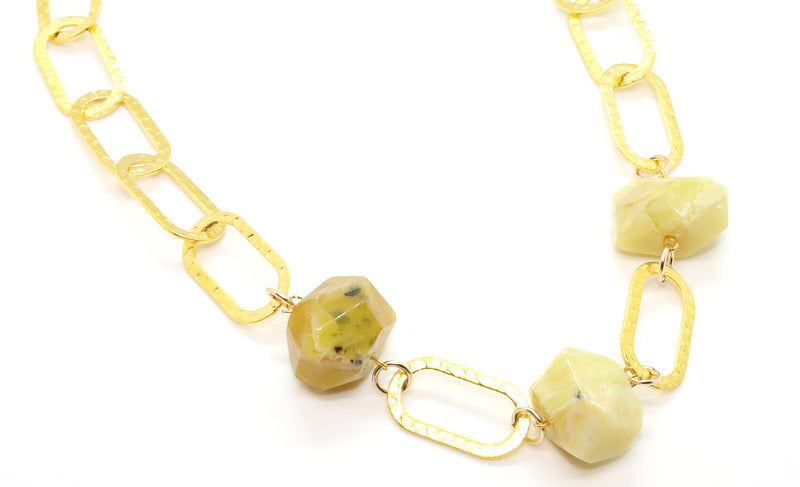 yellow opal gemstone bracelet for women in link chain