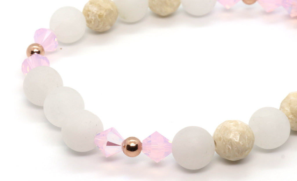 rose gold and snow quartz beaded bracelet for women handmade in Florida