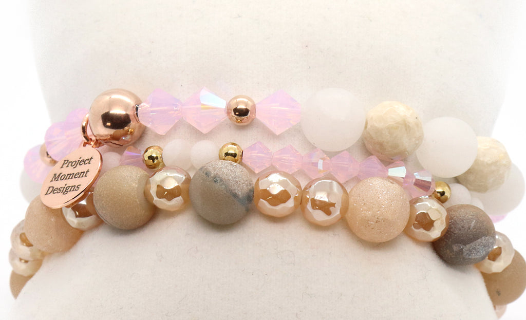 rose gold pink and white quartz beaded bracelet holiday stack