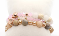 rose gold and snow quartz druzy bracelet stack