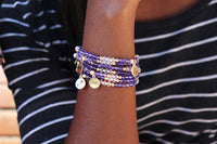 Tanzanite crystal women beaded bracelet with logo charm