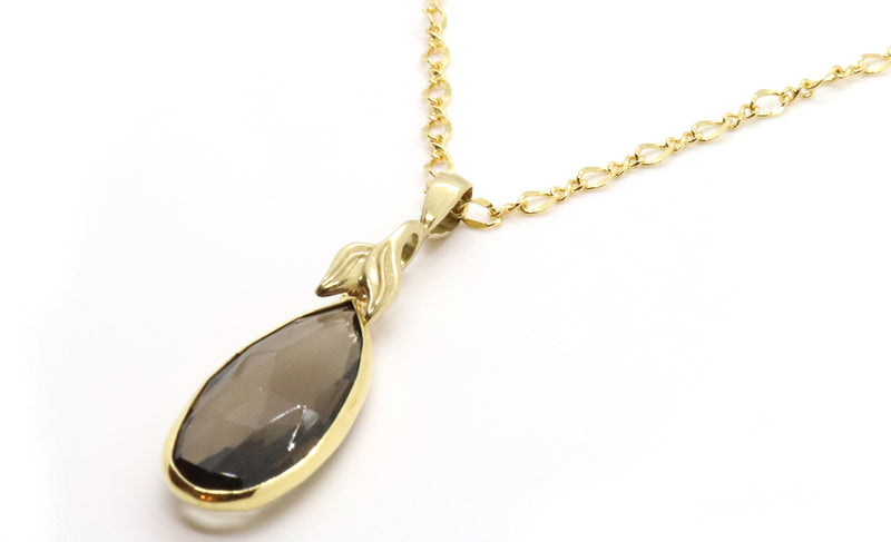 Smoky quartz pendant necklace long chain for fall