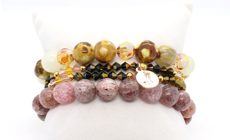 strawberry quartz and honey agate bracelet stack