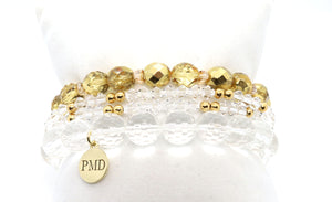 metallic quartz and swarovski bracelet set handmade charm bracelet