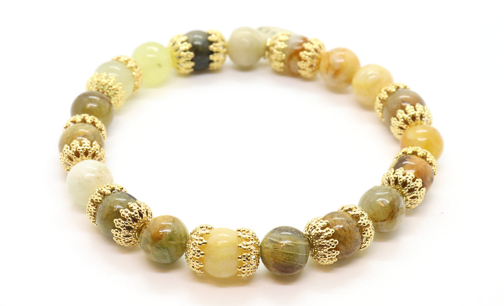 flower jade gemstone beaded bracelet for women