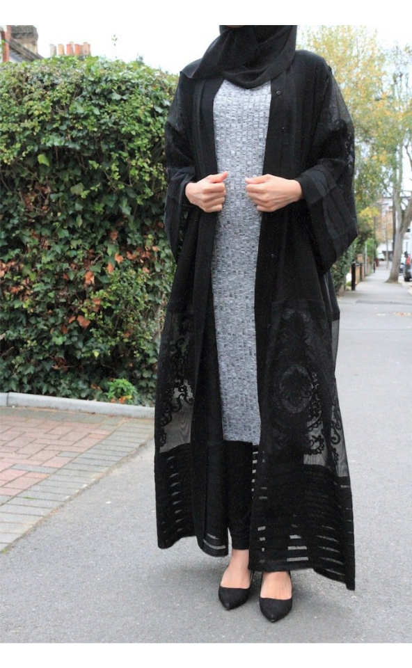 Black Embroidery Lace Open Abaya - BuyModest.com