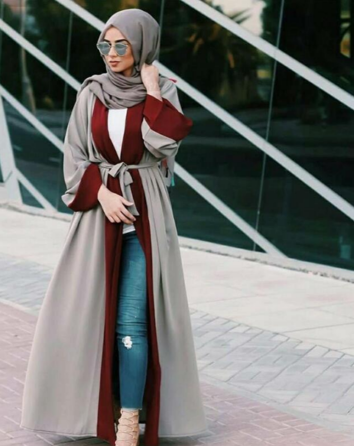 Mixed Colours Red Open Abaya - BuyModest.com
