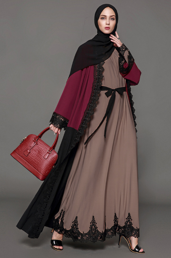 Red Black Embroidery Open Abaya - BuyModest.com