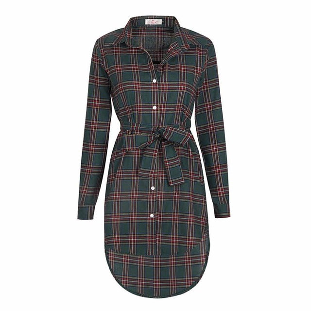 Casual Plaid Turn Down Collar Blouse - 4 Colours - BuyModest.com