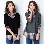 Plaid Patchwork Long Body Shirt - 2 Colours - BuyModest.com