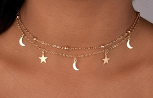 Gold Plated Two-Layer Beaded Star and Moon Necklace - BuyModest.com