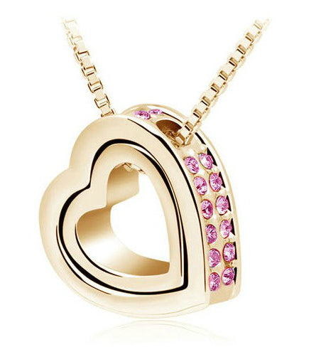Rhinestone Double Heart Pendant Necklace - 5 Colors - BuyModest.com