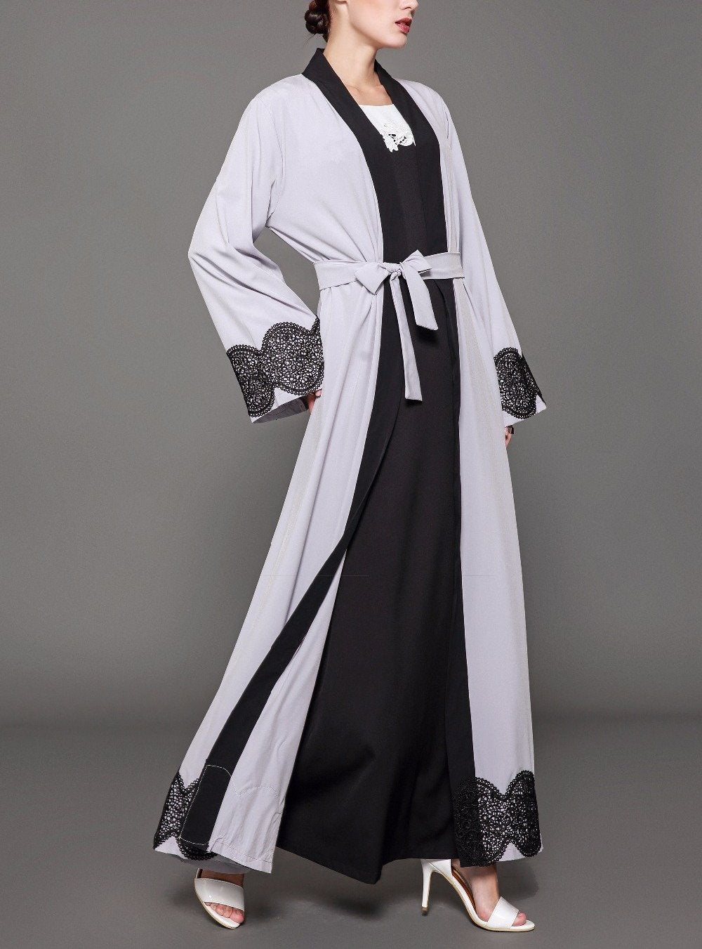 Open Lace Embroidery Tunic Abaya - BuyModest.com