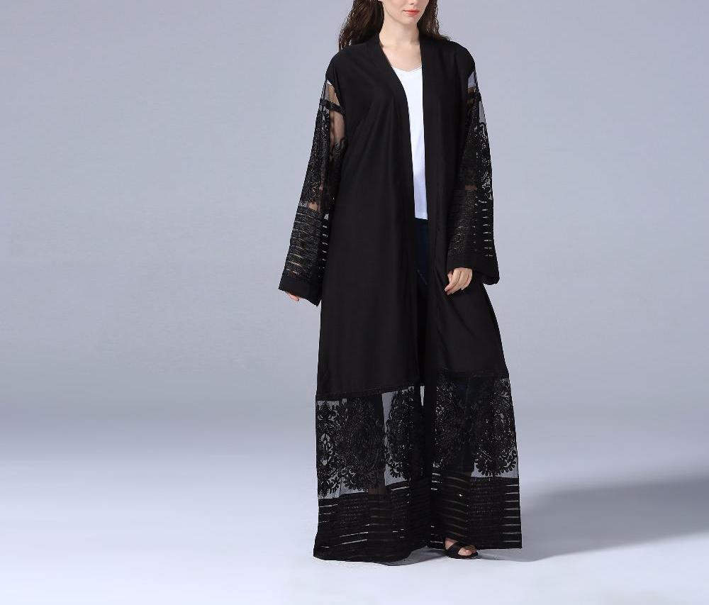 Classic Black Embroidery Lace Open Abaya - BuyModest.com