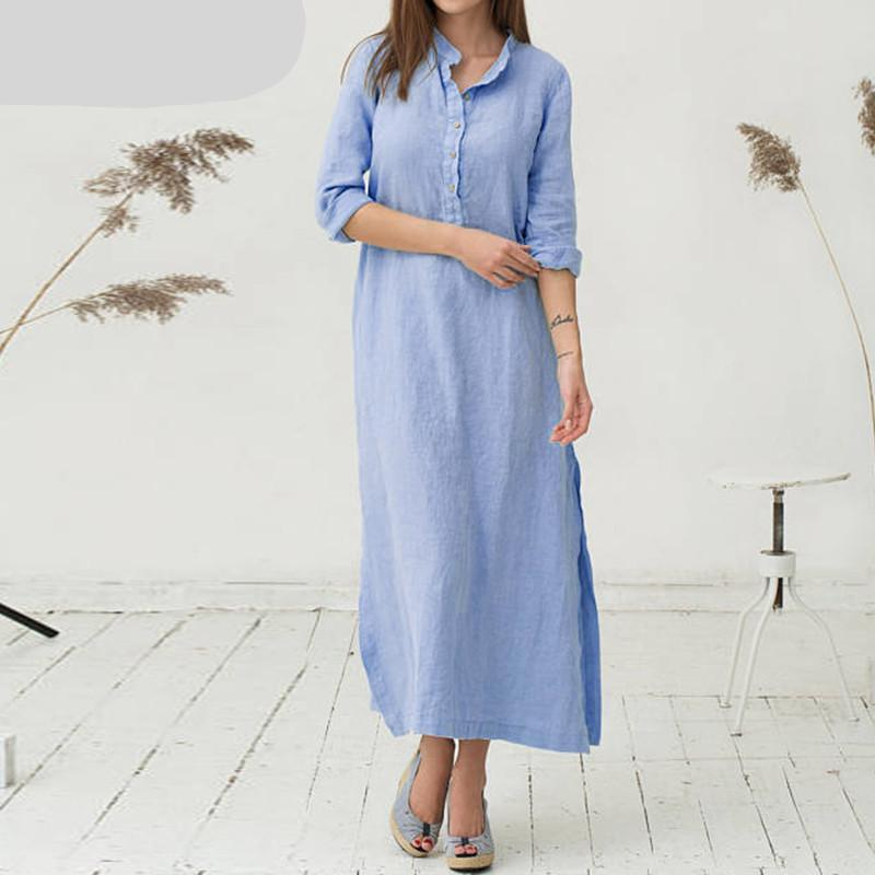 Casual Vintage Cotton Maxi Dress With Pockets - BuyModest.com