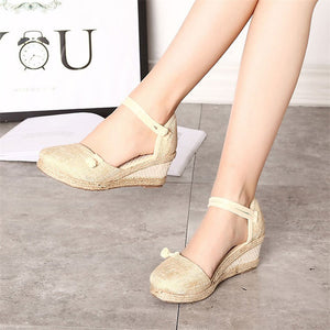 Casual Vintage Linen Canvas Sandals - 4 Colours - BuyModest.com