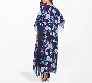 Floral Blue Batwing Sleeve Maxi Dress - BuyModest.com