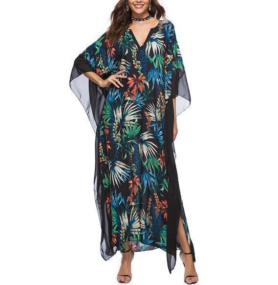 Floral Green Batwing Sleeve Maxi Dress - BuyModest.com