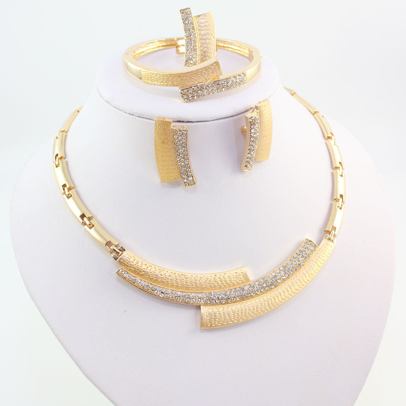 Gold-Plated Crystal Rhinestone Jewellery Set - BuyModest.com