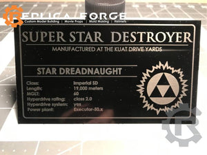 Super Star Destroyer Laser Etched Plate