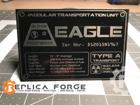Space 1999 Eagle Laser Etched Plate TYPE A