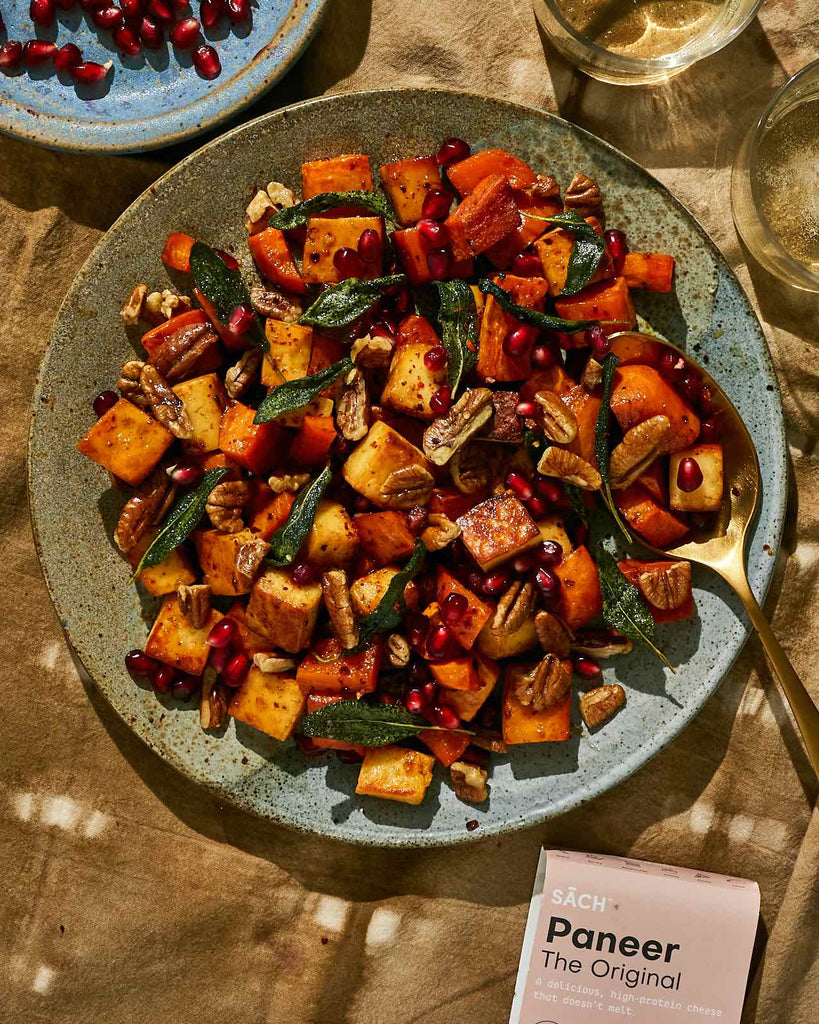 Maple Roasted Sweet Potatoes with Brown Butter roasted Paneer & Crispy Sage