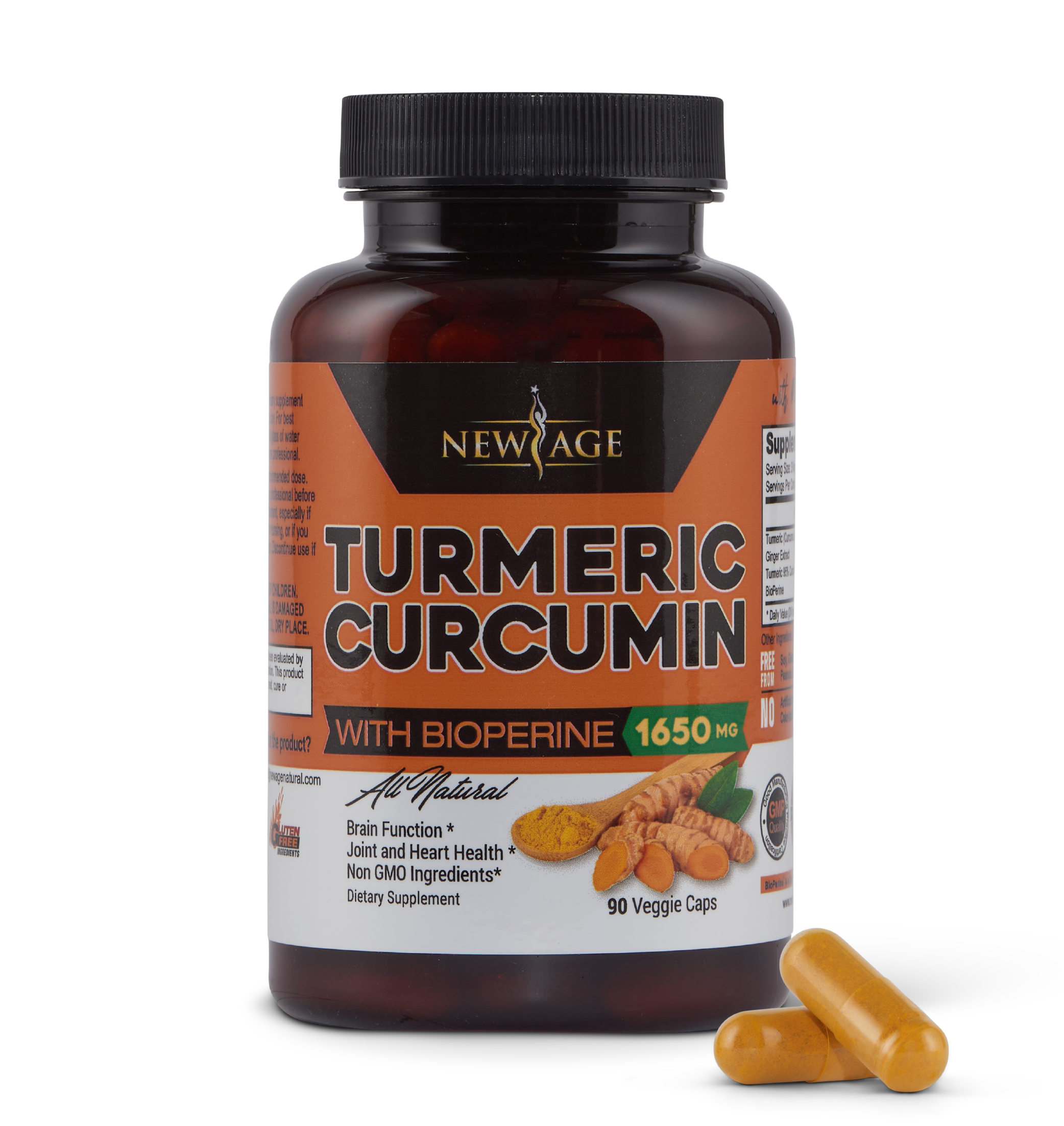 New Age Turmeric Curcumin Capsules - One Bottle