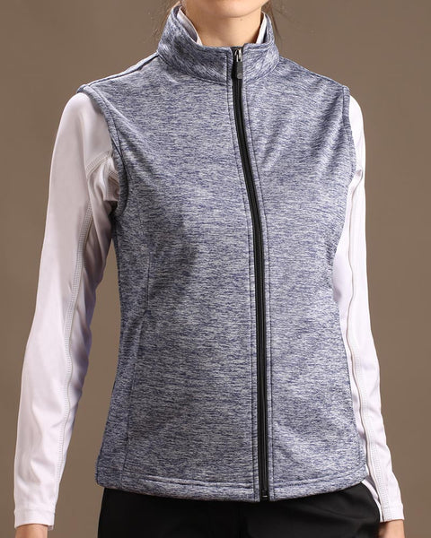 Lightweight Stretch Tech Melange Full Zip Vest
