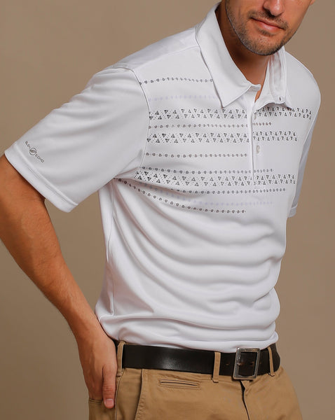 High Density Print Jersey Polo with Self Fabric Collar