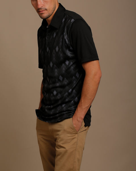 Faded Argyle Print Jersey Polo with Self Fabric Collar
