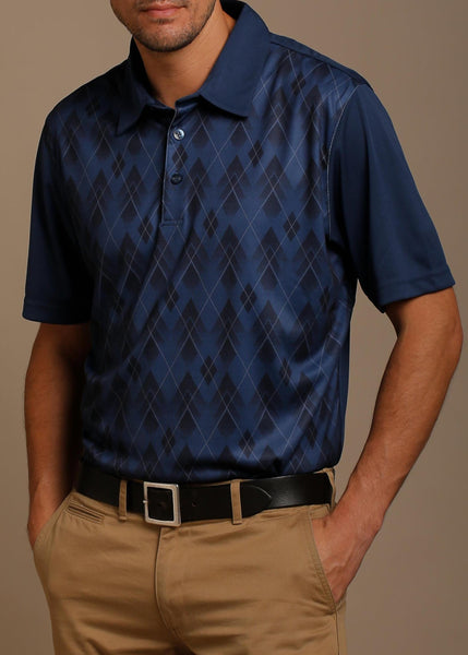 Argyle Print Jersey Polo with Self Fabric Collar