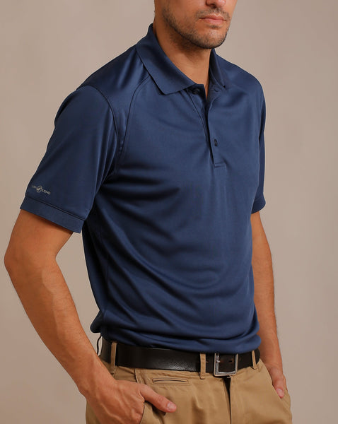 Solid Polo with Rib Collar and Wide Banded Sleeves