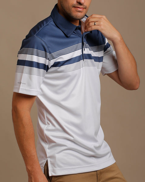 Color Block Print Jersey Polo with Self Fabric Collar