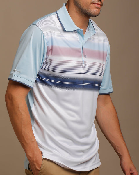 Gradated Multi Color Stripes Jersey Polo with Tipped Rib Collar and Sleeves