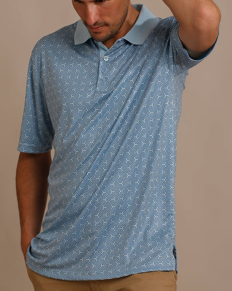 Geometric Design Print Jersey Polo with Ribbed Collar
