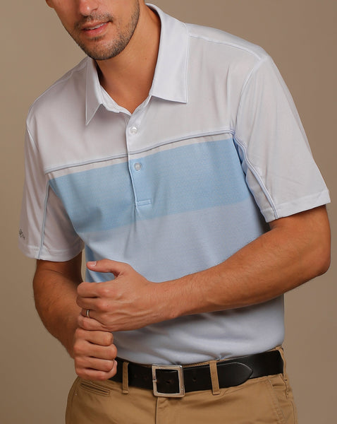 Honeycomb Background and Gradation Print Jersey Polo with Self Fabric Collar