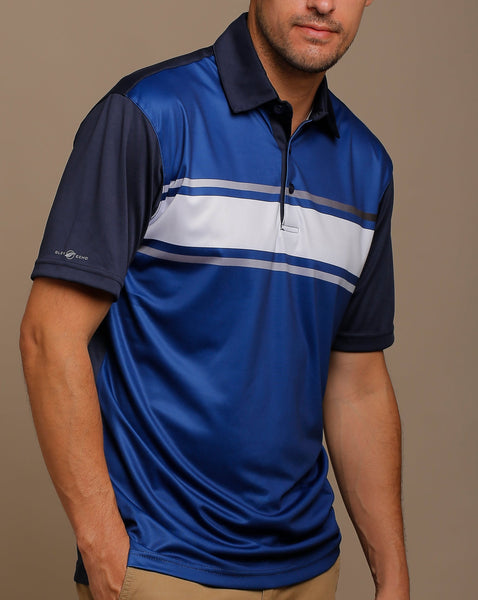 Graphic Chest Stripe Combined with Gradation Stripes Print Jersey Polo with Self Fabric Collar