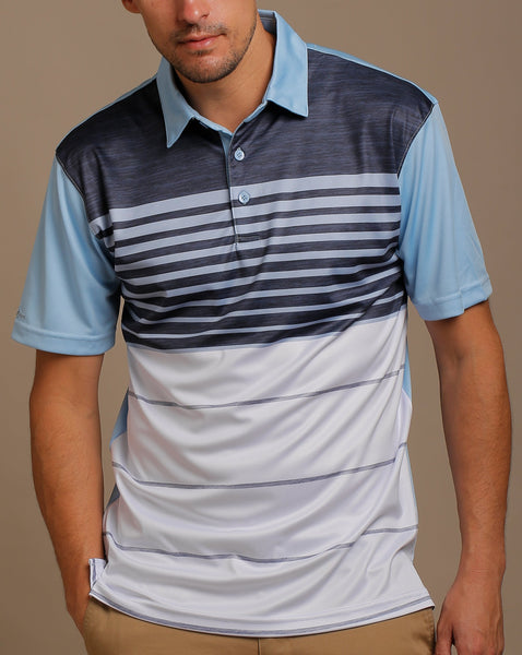 Melange Print and Chest Stripes Jersey Polo with Self Fabric Collar