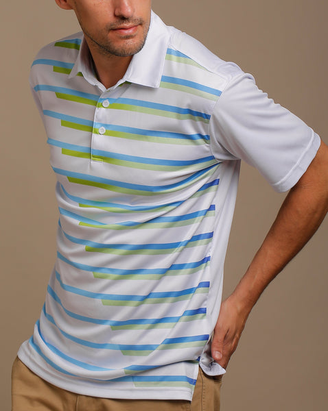 Modern Gradated Stripes Print Jersey Polo with Self Fabric Collar