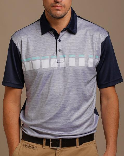 Melange Body Print and Boxed Chest Stripes Jersey Polo with Self Fabric Collar