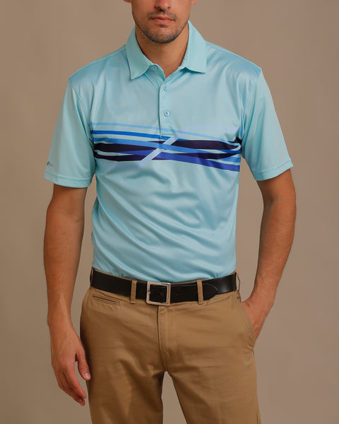 Multi Shaded Graphic Chest Stripes Print Jersey Polo with Self Fabric Collar