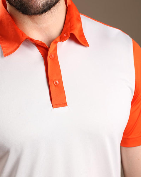 Contrast Shoulder/Sleeves Jersey Polo Shirt with Self Fabric Collar