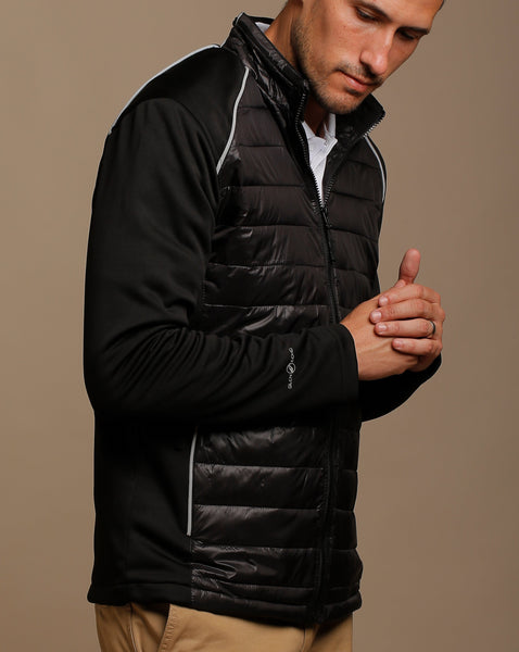 Padded Jacket with Knit Sides and Sleeves