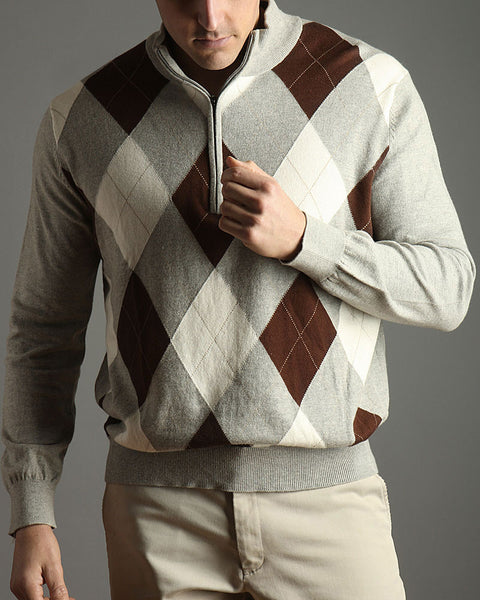 Argyle Quarter Zip Sweater