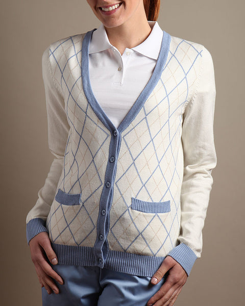 Diamond Jacquard Cardigan Sweater